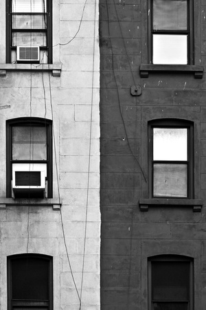 facade with window and black and white color photo