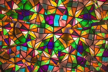 beautiful colored glass windows with asymetric pieces of different colors photo