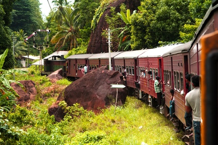 riding by train the scenic mountain track from Nuwarelia to Colombo photo