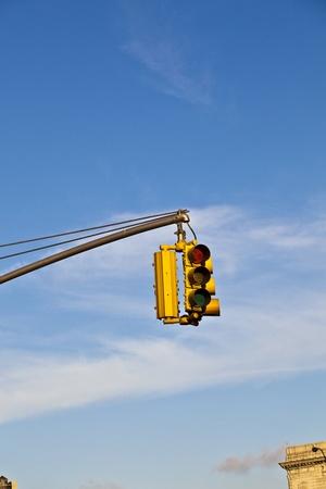 red traffic light: red traffic light in New York Stock Photo