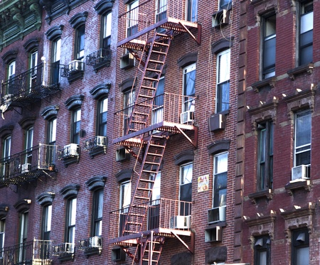 fire escape: fire escape at an old downtow house Stock Photo