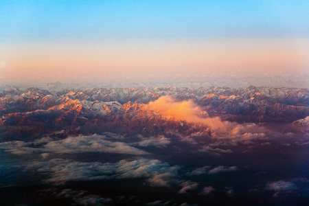 beautiful view from the aircraft to the mountains in Tashkent, china and Kirgistan, covered with snow Stock Photo - 9297699