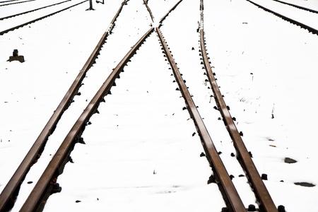 snowbound: snowbound rails in winter with shunting switch