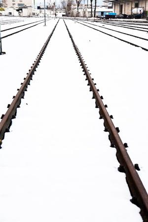 snowbound: snowbound rails in winter