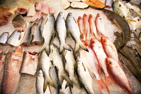 whole fresh fishes are offered in the fish market in asia Stock Photo - 9301526