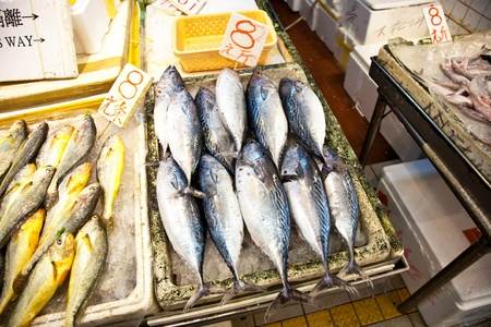 whole fresh fishes are offered in the fish market in asia Stock Photo - 13510721