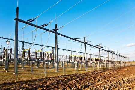 electricity relay station with high-voltage insulator and power lines Stock Photo - 9301544
