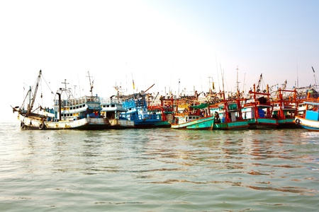 koh samet: fisherboats in the harbor in Koh Samet, Thailand