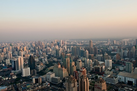 aerial view over Bangkok in sunset Stock Photo - 9300243