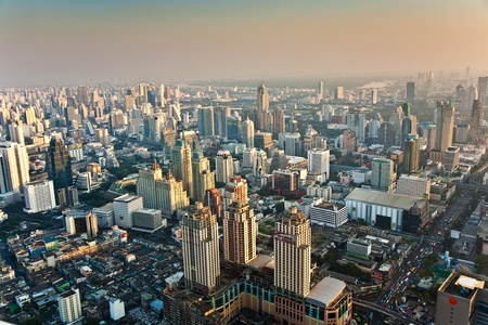 View across Bangkok skyline showing office blocks and condominiums Stock Photo - 9301522