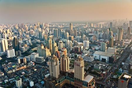 bangkok city: View across Bangkok skyline showing office blocks and condominiums