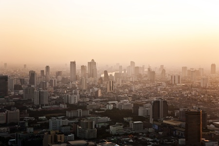 View across Bangkok skyline showing in sunset photo