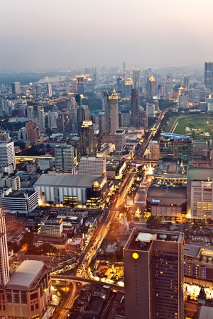 View across Bangkok skyline showing office blocks and condominiums photo