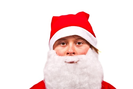 cute boy dressed as Santa Claus photo
