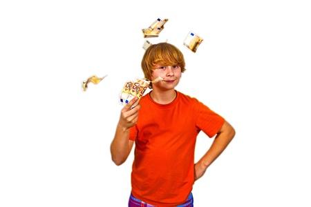 Euros flying around a boys head photo