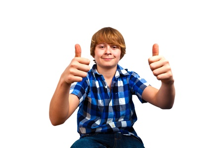 only one teenage boy: portrait of cute young happy teenager Stock Photo