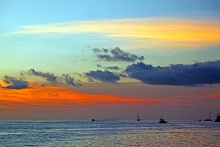 sunset in Key West with beautiful clouds in warm colors photo