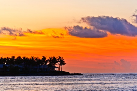 key west: sunset in Key West with beautiful clouds in warm colors Stock Photo