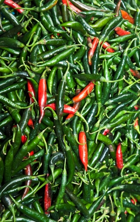 fresh chili pepper in different colors at the herb market in Bangkok photo