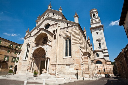 The facade of the catholic middle ages romanic cathedral  in Verona, the city of Romeo and Juliet, Italy photo