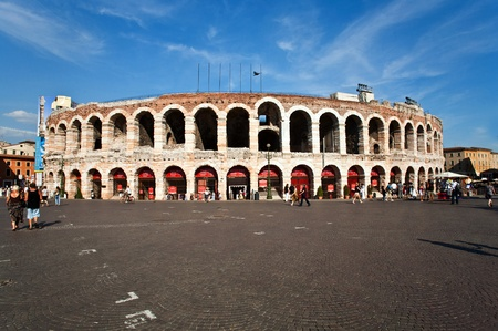 verdi: world famous amphi theater ,old roman arena from verona from outside Stock Photo