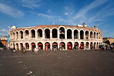 bluer: world famous amphi theater ,old roman arena from verona from outside Stock Photo