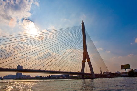 phraya: Bridge Rama 8 in Bangkok spans the River Mae Nam Chao Phraya