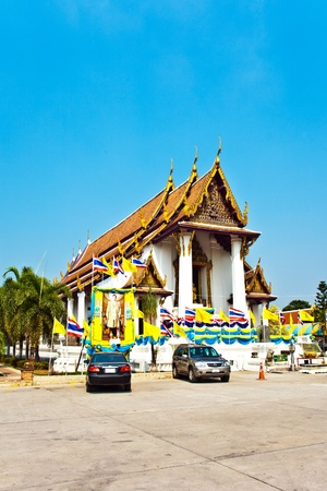 monastery Wat Na Phramane in Ajutthaya with famous gold buddha and roof carvings photo