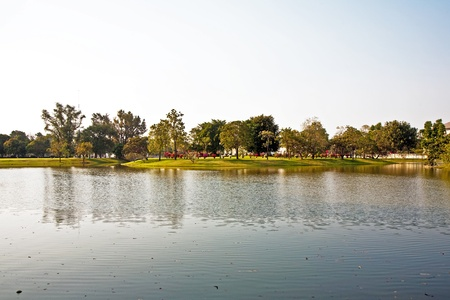 beautiful buildings and park in the Summerpalace Bang Pa In of the King of Thailand near Ajuttaya Stock Photo - 9344296
