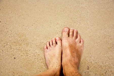 adult footprint: feet of a man in the fine sand