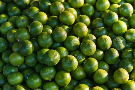 eatables: fresh lime fruits at the market in early morning