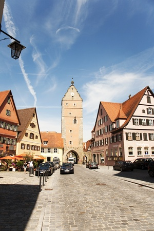 romantic Dinkelsb�hl,old city Gate W�rnitzer Stadttor , city of late middleages and timbered houses photo