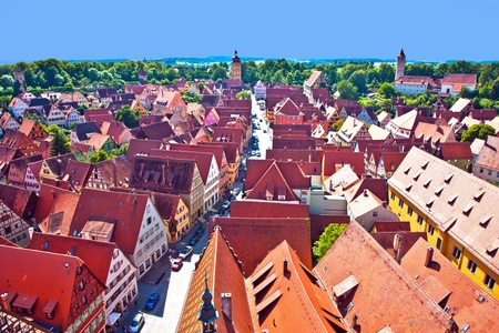 view to romantic city of Dinkelsbuehl from the old church tower photo