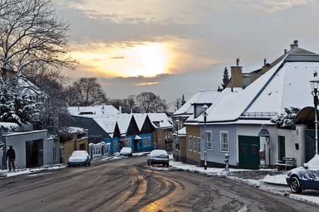 village of Grinzing in vienna in early morning light in Wintertime photo