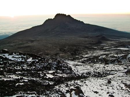 climbing the Mount Kilimanjaro, the highest mountain in Africa (5892m) photo