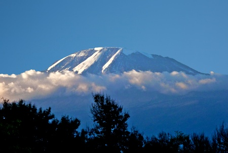Mount Kilimanjaro, the highest mountain in Africa (5892m), seen through the crops. photo