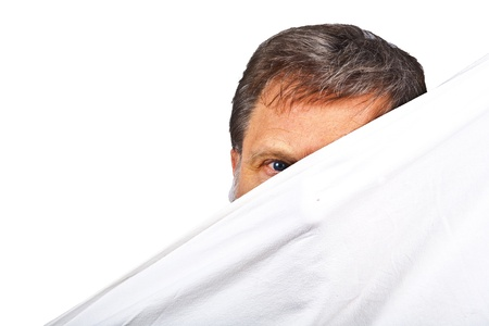 hidden danger: face of man partially covered by linen