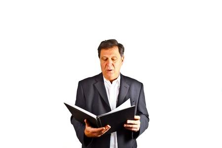 business man holding a speech photo