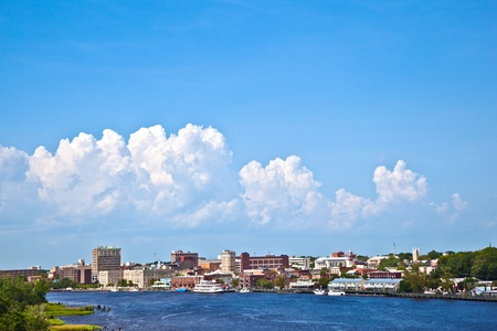 mississippi river: view to the old harbor of scenic Wilmington