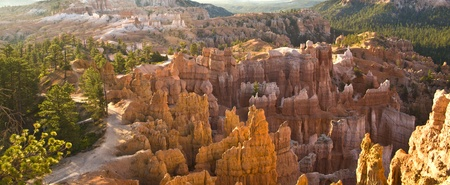 bryce canyon: beautiful landscape in Bryce Canyon with magnificent Stone formation like Amphitheater, temples, figures in afternoon light