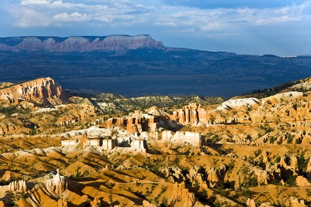 beautiful landscape in Bryce Canyon with magnificent Stone formation like Amphitheater, temples, figures photo