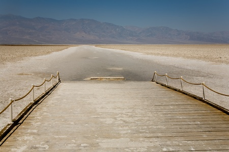 the deepest: Badwater, deepest point in the USA, Saltsee mixed with minerals in the Desert Valley, deeper than sea level Stock Photo