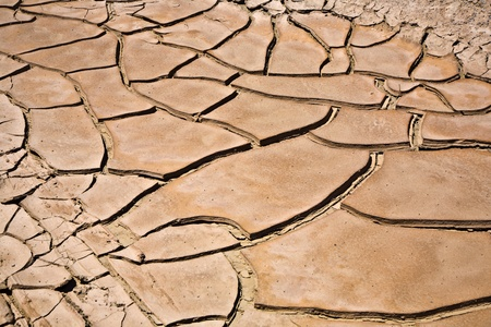 natural disaster: dried and cracked mud in the near of a dried up creek in Desert Valley, Nevada Stock Photo