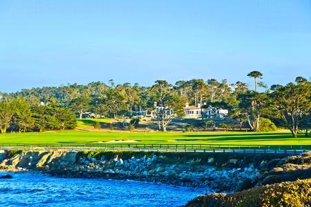 beautiful houses near the Pfeiffer beach in California Stock Photo