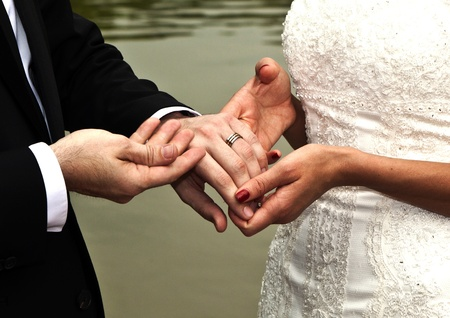 wedding couple swears lifetime loyality  in the wedding ceremony photo