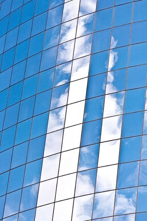 facade of Skyscraper with reflection of sky in New York photo