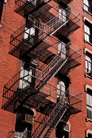fire ladder at old houses downtown in New York photo