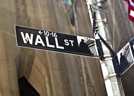 street market: A Wall Street sign in Manhattan New York.