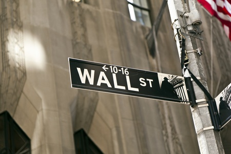 A Wall Street sign in Manhattan New York.