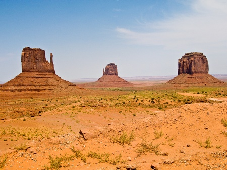 mesa: Mittens and Merric Butte  are giant sandstone formation in the Monument valley
